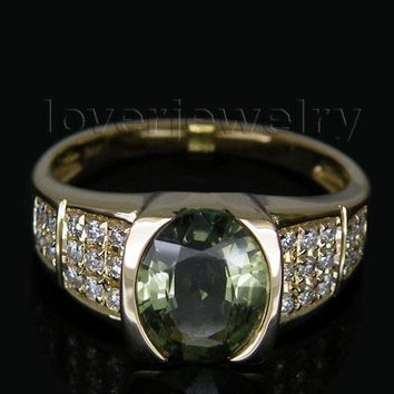 Vintage Solid Oval 7x9mm 14Kt Yellow Gold Natural Diamond Sapphire Ring WU104