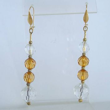 Highly Faceted Lightweight Topaz Clear Bead Dangle Earrings