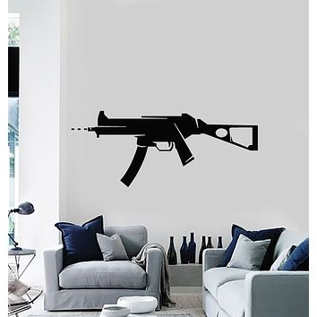 Vinyl Wall Decal Gun Weapon Soldier Military War Man Cave Decor Stickers Mural (g1576)
