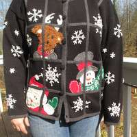 Tacky christmas sweater, christmas sweater, ugly christmas sweater, christmas vest, tacky christmas vest, santa sweater, santa, snow sweater