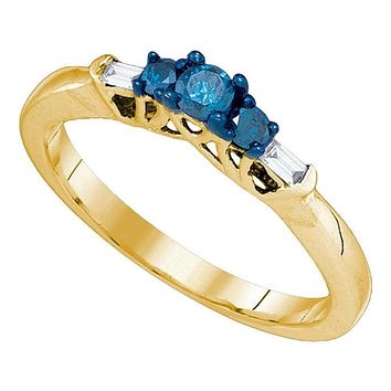 10kt Yellow Gold Women's Round Blue Color Enhanced Diamond 3-stone Bridal Wedding Engagement Ring 1/4 Cttw - FREE Shipping (US/CAN)