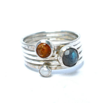Sun, Moon, and Stars, Celestial Gemstone Stacking Ring Set- Sunstone, Moonstone, and Labradorite in Sterling Silver