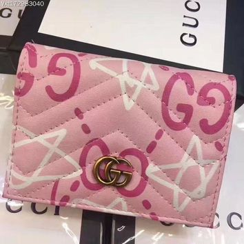 GUCCI Women Double G Print GG Buckle Stars Girl Wallet Small Bag B-3A-XNRSSNB Pink