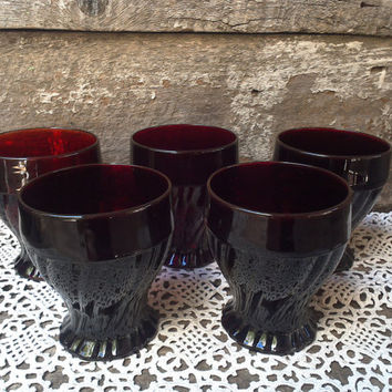 SET OF 5 ~ 1930's Ruby Red Depression Glass Cups, Deep Red Bowls, Footed Sherbet Bowls, Desert Cups, Juice, Cocktail Glass, Holiday, Serving