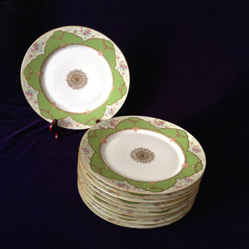 Antique Limoges Dinner Plate Set 10 Strawbridge & Clothier Beautifully Hand Painted - Elegant Entertaining/ Luxury Table/Dinner Party