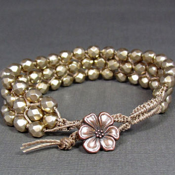 Glass Faceted 6mm Pearls in Gold Macrame Bracelet by UrbanCorner