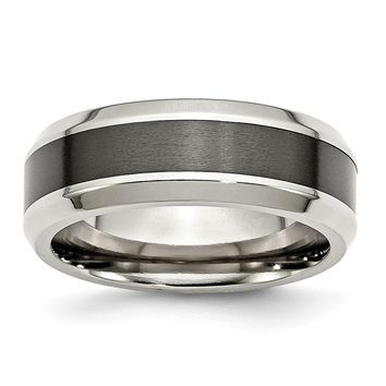 Black Center Beveled Edge Ring in Stainless Steel - 8 Mm