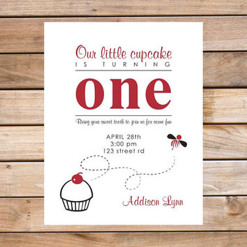 Child's Birthday Party Invitation - 4.25x5.5 - Printable PDF Digital File OR Custom Printed Hardcopies - Simple Cute Cupcake Design