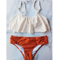 Upper part white Under part Orange Lotus falbala bikini two piece bikini bath suit