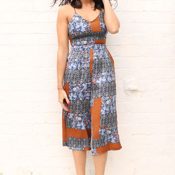 Strappy Tiled Paisley Culotte Jumpsuit in Blue & Orange Tones