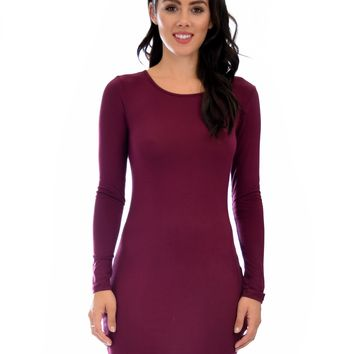 Lyss Loo Comeback Baby Long Sleeve Burgundy Bodycon Dress