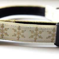 Golden Snowflake Holiday Dog Collar Adjustable Sizes (XS, S, M)