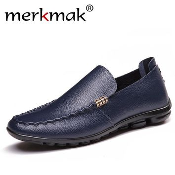 Merkmak Brand Summer Men Loafers Causal Shoes Genuine Leather Moccasins Men Driving Shoes High Quality Flats For Man Big Size