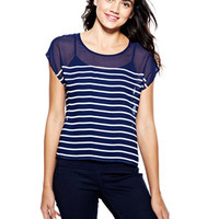 Mariner Stripe Zip-Back Top - Navy Multi