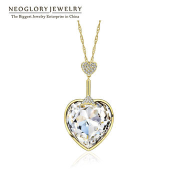 MADE WITH SWAROVSKI ELEMENTS CRYSTAL Heart Love Pendant Necklaces Women   Fashion Jewelry