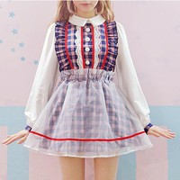 Lolita Style Plaid Two Piece Dress