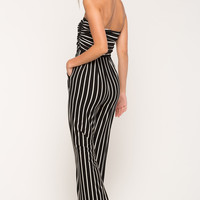 Stripe Knit Wideleg Jumpsuit