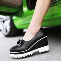 Women Wedges High Heels Bow Pumps Platform Shoes 5280