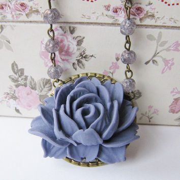 Purple necklace - vintage style jewelry- handmade - for her - flower necklace - romantic jewelry - Europe