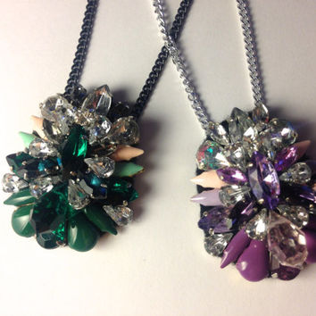 Emerald or Orchid mixed painted enamel and crystal statement pendant necklace