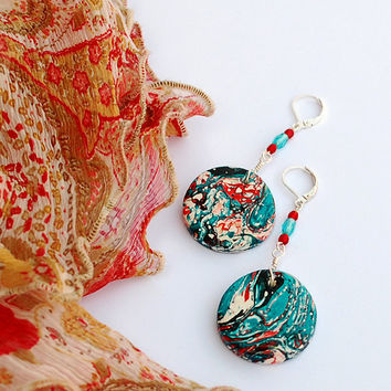 Red and turquoise boho earrings. Long dangling hippie earrings. Unique handmade clay beads and leverback ear hooks.