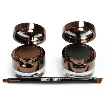 Cosmetic 2 Pcs Makeup Set 2 Colours Double-Layer Gel Eyeliner and Brow Powder with Double-End Brush