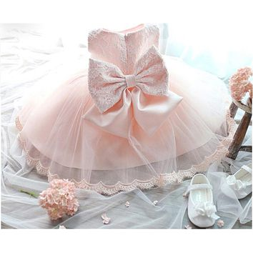 Baby Girls Lace Christening Gown Dress For Newborn Baby Clothing Girl Clothes Big Bow First Birthday Tutu Dress For Toddler Girl