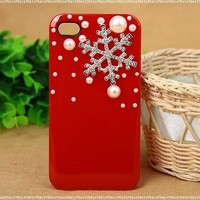 3D Crystal Christmas Snow Snowflake Hard Back Case Cover Pearls for iPhone 4/4s:Amazon:Cell Phones & Accessories