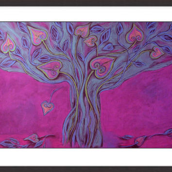 Large Purple Pink Abstract  Art print, Fantasy tree Landscape,Hearts leaves, Decorative Modern  Wall decor