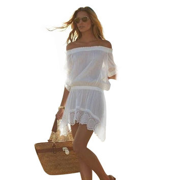 Boat Neck Short Sleeve Elastic Waist Asymmetric Cut-out Hollow Out Solid Color Dress for Women