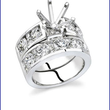 Gregorio 18K White Gold Diamond Engagement Ring Set  R-312