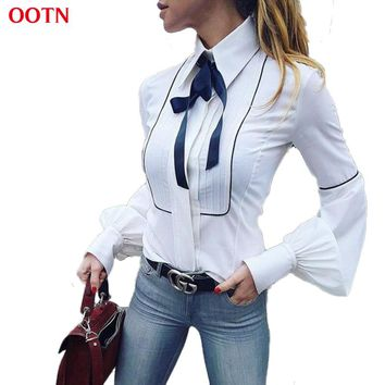 OOTN Office Bow Tie Blouses Women Lantern Sleeve White Blue Tunic Button Down Shirts Female Elegant Top 2018 Winter Autumn Tops