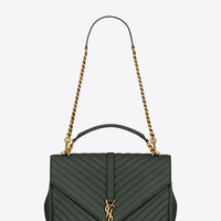 SAINT LAURENT CLASSIC LARGE MONOGRAM SAINT LAURENT COLLÈGE BAG IN DARK GREEN MATELASSÉ LEATHER | YSL.COM