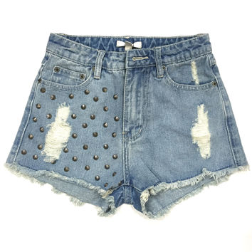 Kenzie High Waisted Studded Shorts - Light Wash
