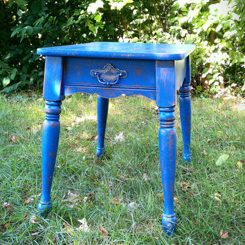 Shabby Chic Vintage Wood Side Table, All Purpose Table, Cottage, Country, Beach House Decor