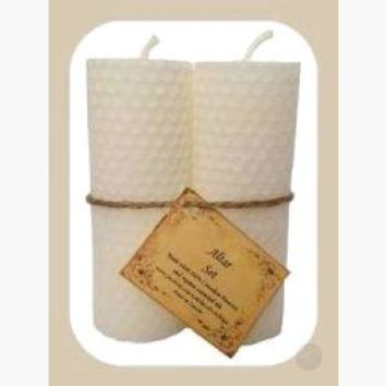 White Altar Candle Set