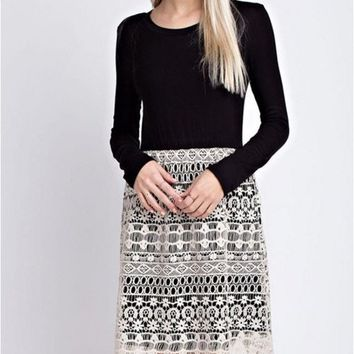 Graced with Lace Dress - 12PM Mon Ami - Black