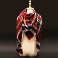 Za Winter luxury Brand Plaid Cashmere Scarf