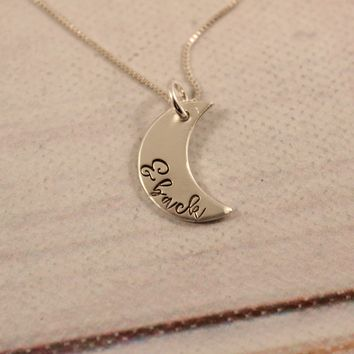 """& Back"" Sterling Silver Moon Charm Necklace"