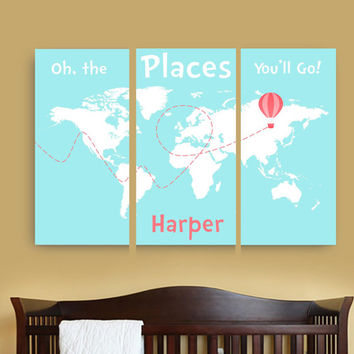 Oh the places you'll go canvas map with name,Personalized dr Seuss canvas art set of 3,Travel Nursery Canvas Print, World Map Canvas nursery