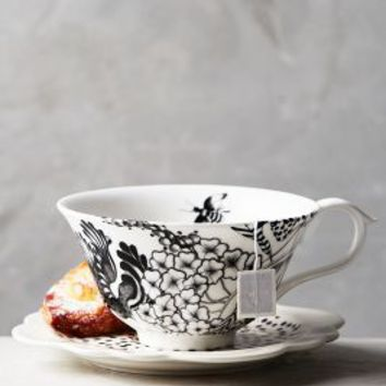 Florence Balducci Wild Masquerade Cup & Saucer in Black & White Size: Cup & Saucer Dinnerware