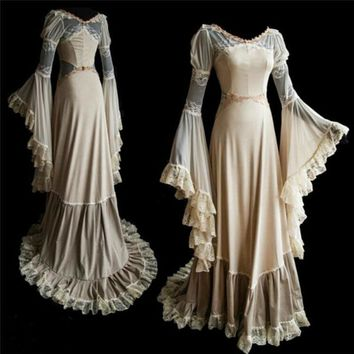Women Medieval Ball Gown Flare Sleeves Cosplay Dress Court Train Medieval Ball Gown Lace Up