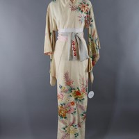 Vintage Silk Kimono Robe / Ivory and Pink Embroidered Floral Print