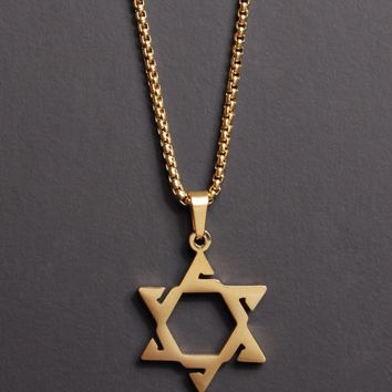 Stainless Steel (Gold Plated) Star of David Necklace for Men