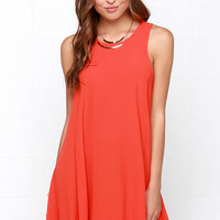 Chic Easy Coral Red Swing Dress