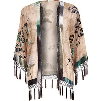River Island Womens Beige floral print fringed kimono