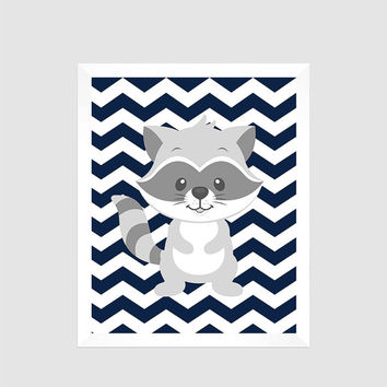 Gray Raccoon on Navy Chevron Print , Baby Nursery Art, CUSTOMIZE YOUR COLORS, 8x10 Prints, nursery decor nursery print art baby room decor