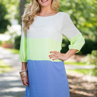 Color Block On The Wild Side Dress, Lime- Blue