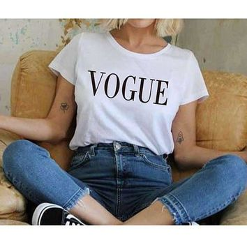 OKOUFEN VOGUE t shirt fashion short sleeve tumblr Hipster cotton t-shirt crewneck graphic outfits top tshirt women unisex tee