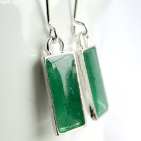 Green Resin Earrings Dangly Earrings Green Earrings Rectangle Resin Earrings